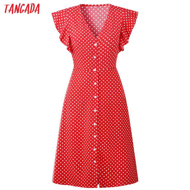 Polka Dot  Ruffle Sleeves Dress