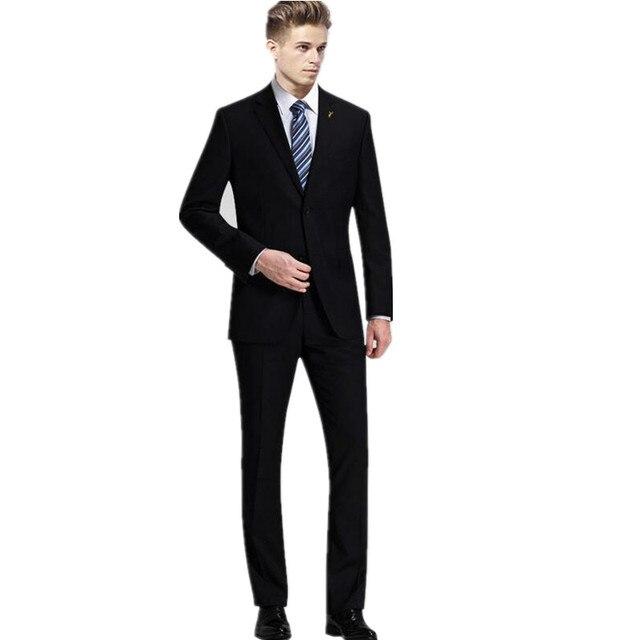 Hombres guapos trajes de negocios formal ocasiones de puro negro hombres de  la boda el novio 35f2b0691f5