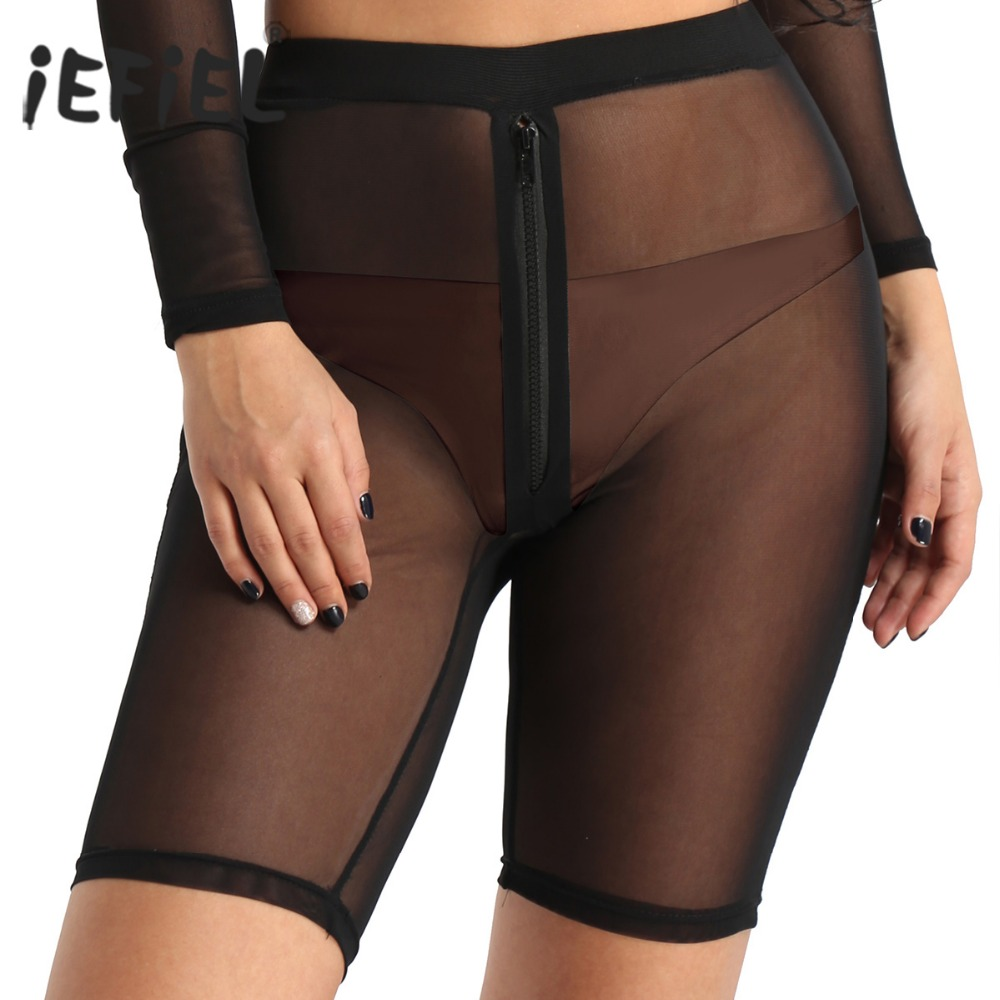 iEFiEL Womens Clothing Breathable High-waisted Front Zipper See Through Sheer Mesh   Shorts   Sexy Clubwear Dancewear