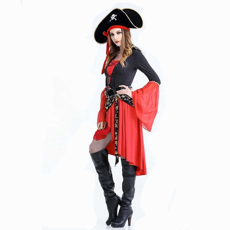 Halloween Pirates of the Caribbean Women Pirate Queen Cosplay Party Costumes Adult Cosplay Women Pirate Role Play Costumes Unifo