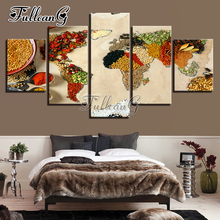 FULLCANG Full Square Diamond Embroidery Vegetable Abstract Color Map 5PCS Diy Diamond Painting Cross Stitch Mosaic Kits G650 fullcang beauty full square diamond embroidery 5pcs diy diamond painting cross stitch mosaic kits g591