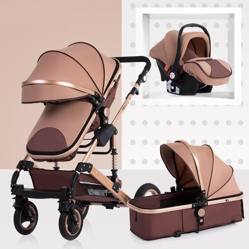 Poussette bébé 3 en 1 poussette allongée ou amortissante pliante poids léger deux faces enfant quatre saisons russie livraison gratuite