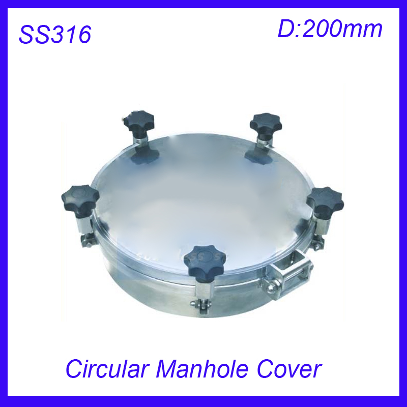New arrival 200mm SS316L Circular manhole cover with pressure Round tank manway door Height:100mm 530x430mm ss316l stainless steel rectangular manhole cover side manway tank door way