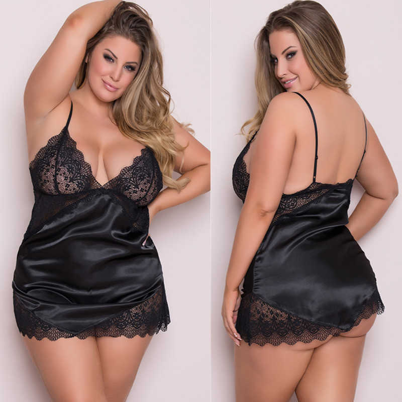 Sexy Plus Size Pijama Sleepwear Erotic Lingerie Women Lace Hollow-out Night Dress See Through Underwear Night Gown Black 3XL-5XL