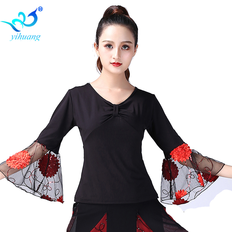 Ballroom Dance Costume Tops Flamenco Blouses Standard Modern Outfits Waltz Latin Salsa Rumba Dancewear Tops Long Sleeves