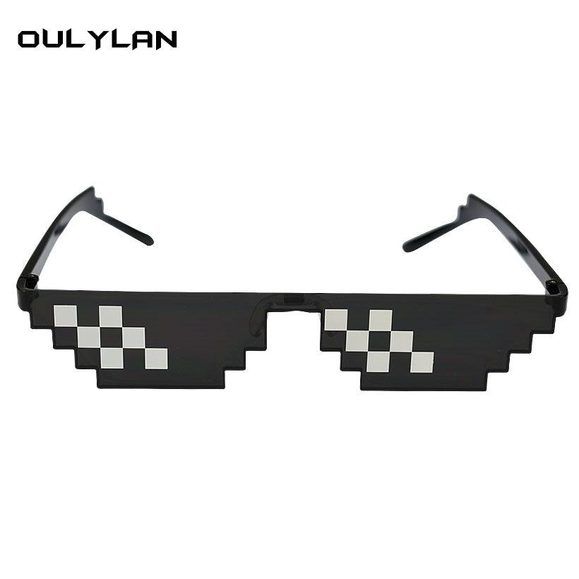 Oulylan Deal Mit Es Gläser 8 bits Mosaik Pixel Sonnenbrille Männer Cosplay Party Brillen thug life Beliebt Auf der Ganzen Welt
