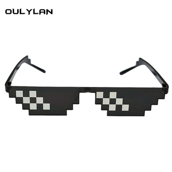 Oulylan Deal With It Glasses 8 bits Mosaic Pixel Sunglasses Men Cosplay Party Eyewear thug life Popular Around the World