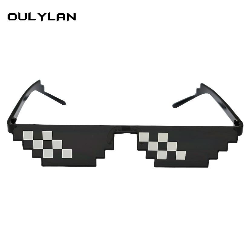 Oulylan Deal With It gafas 8 bits Pixel del mosaico gafas de sol hombres Cosplay partido gafas thug Vida Popular en todo el mundo