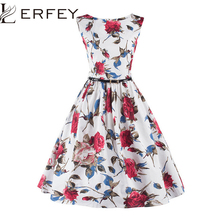 LERFEY Summer Women Dress Classy Vintage Rockabilly Party Swing Elegant  Dresses 50s Floral Print Pin up a8f61320560e