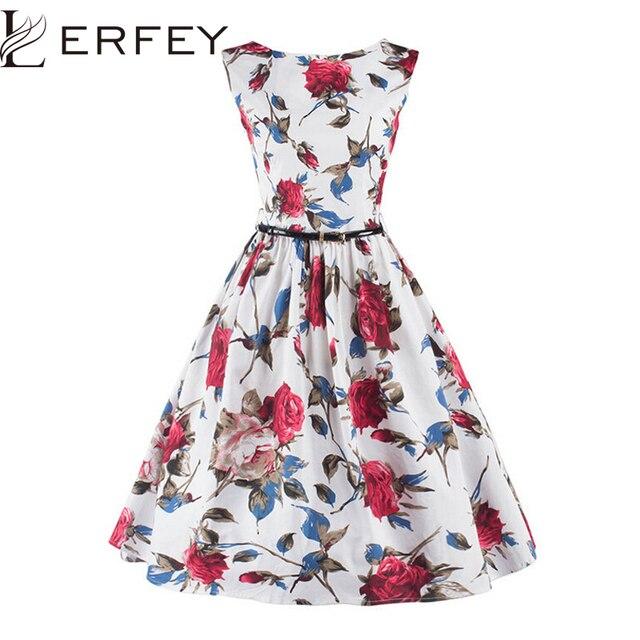 LERFEY Summer Women Dress Classy Vintage Rockabilly Party Swing Elegant  Dresses 50s Floral Print Pin up Dress with Belt c54594262a70