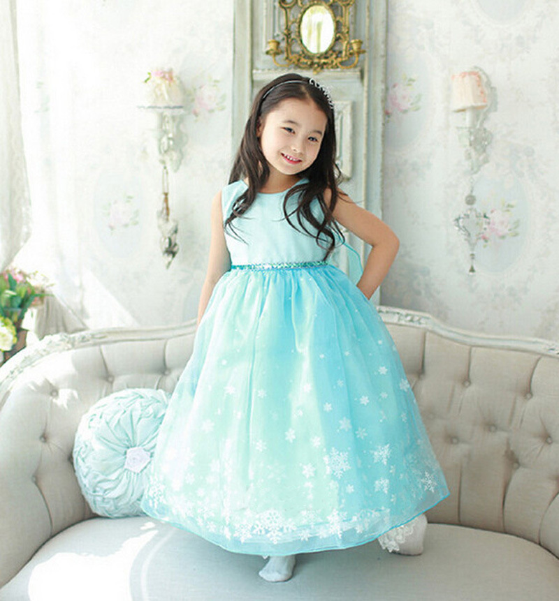 daebbabe5 2016 Ice Blue Girls High Quality Dress Clothes Snow Queen Kids Children  Baby Wedding Party Dance Vestidos Fever Elsa Anna Dress