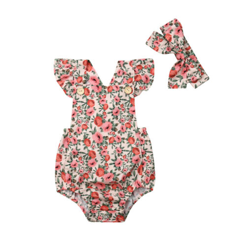 Newborn Baby Infant Girls Summer Clothes Clothing Floral Sleeveless Cotton   Romper   2Pcs Outfit Clothes Set