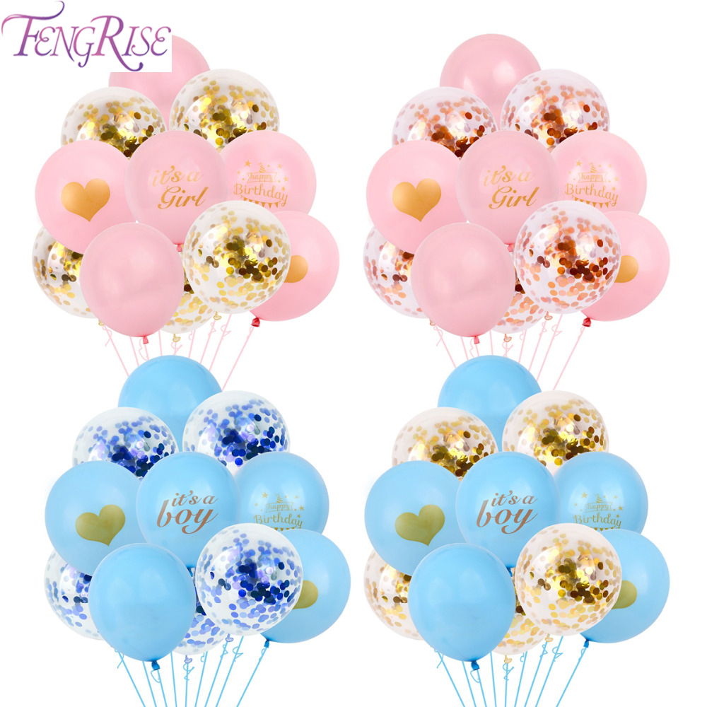 FENGRISE Latex Its a Girl Balloons Birthday Ballon Boy Baby Shower Balloon Confetti Baloon Balons