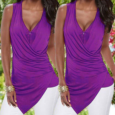 Sexy Womens Sleeveless V Neck Vest  Irregular Ladies Summer Casual Shirts  Beach Top  Zipper Blouse