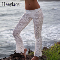 Sexy Beach Long Pants Elastic waist Handmade Crochet Knit Net cover up hollow out flare Trouser Vacation style White Black color