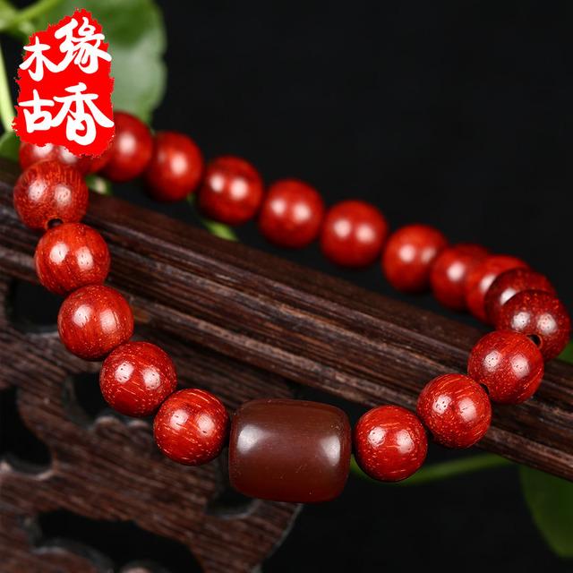 Authentic índia lobular sândalo vermelho pulseiras jóias estilo folk feminino pulseira de madeira de sândalo vermelho