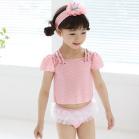 EMS DHL Free Shipping NEW Kids Stylish Baby Girls 3pc Separated Beachwear Bath Suit Swim Hat