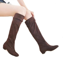 COVOYYAR Flock Knee High Boots Women Three Wear Stretch Boots Fashion Winter Slim Fit Slip On Women Shoes Size 40 WBS232