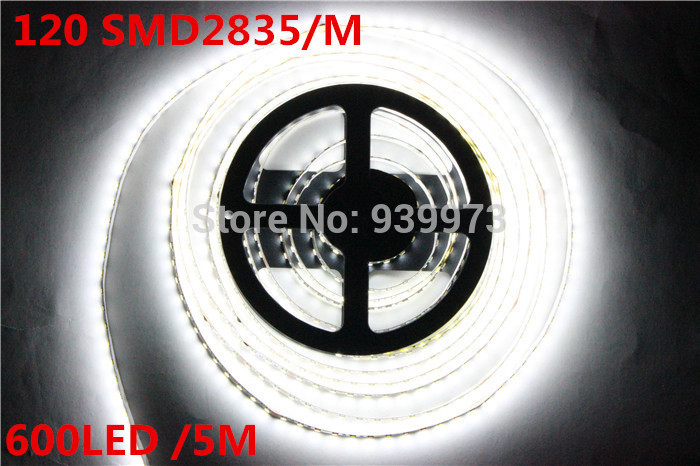 Super Bright 5M 2835 SMD 120led/m 600Leds White  Warm White Flexible LED Strip 12V Non-Waterproof free shipping