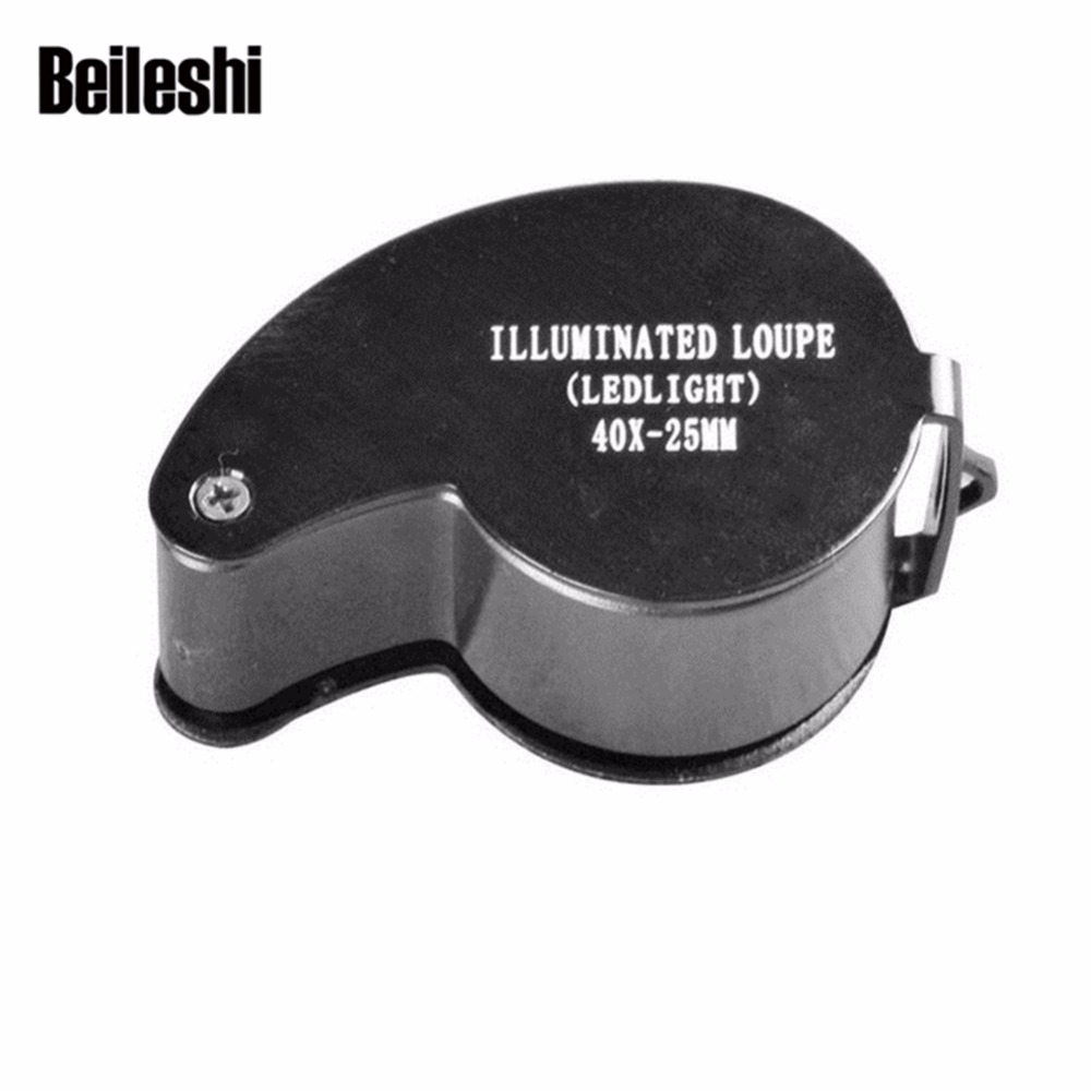 Beileshi Magnifier 40X 25mm Portable Metal Mini Pocket Magnifying Jeweler Loupe LED Loop Brand new 1pc hand operated oil press machine for family