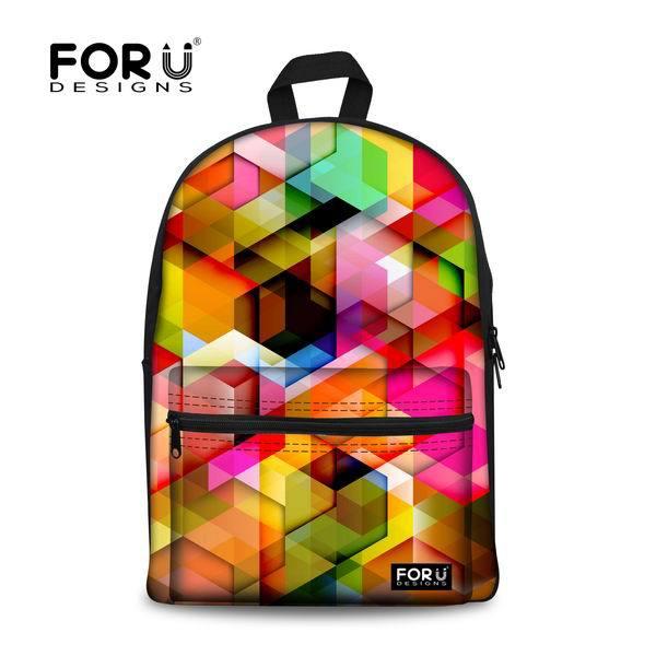 2017 Trendy Women Printing font b backpack b font Unique Colorful Girls School font b Backpacks