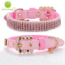 Bling Rhinestone Baby Pet Collar Personalized Buckle Polyester &Leather Cat Dog Collars Pink for Small Medium Dogs Chihuahua