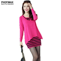2013 Autumn New Korean Long Paragraph Sweater Piece Striped Long Sleeved Sweater Fashion Piece