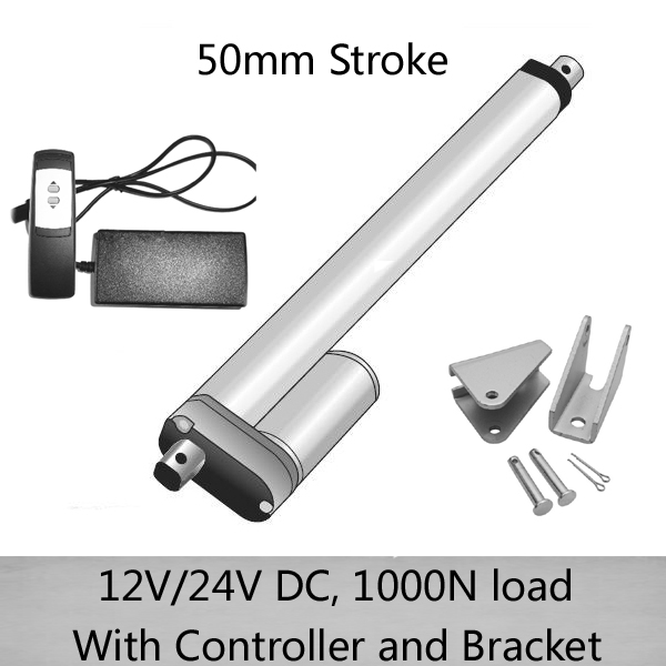 Best Discount 2inch 50mm stroke electric DC 12V 24V 1000N 100kgs load linear actuators with remote