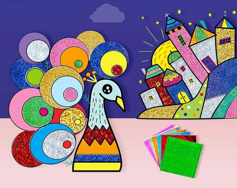 9 pz/set Cute Cartoon FAI DA TE Magia Trasferimento Wticker Trasferimento Artigianato Pittura per I Bambini di Arti E Mestieri Giocattoli per il Regalo Dei Bambini GYH