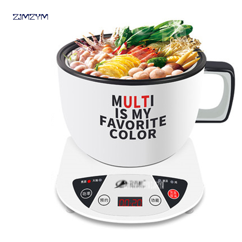 Mini Multi Cookers 1L Food Grade Stainless Steel Electric Hot Pot Cooker Rice Boil Steamed Soup Pots Perfect for Dorm GL-ZON166 stainless steel electric double ceramic stove hot plate heater multi cooking cooker appliances for kitchen 220 240v vde plug