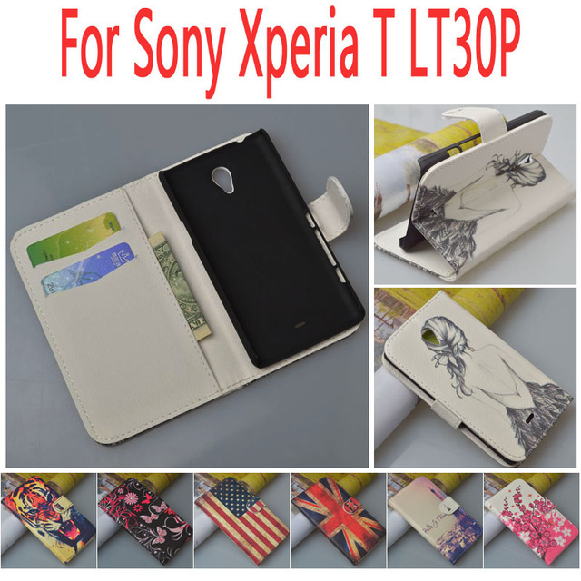 Leather case for Sony Xperia T LT30p LT30i phone flip cover case housing For Sony LT LT30 30 30P P mobile phone covers cases