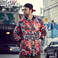 BIG GUY Store XL-6XL Casual Autumn Red Camouflage Jacket Men 2016 Long Windbreaker Jacket Male Mens Coats And Jackets 1313