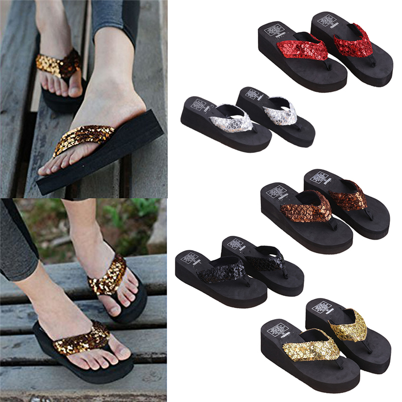 9f442deedaa1 THINKTHENDO New 1Pair Comfortable Summer Soft Women Wedge Sandals Sequin  Thong Mid Heels Platform Slippers-in Flip Flops from Shoes on  Aliexpress.com ...