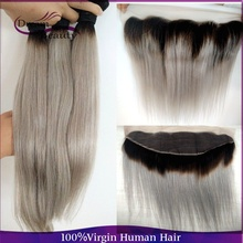 Dream Beauty Ombre Malaysian Straight Hair Extensions 1B Grey Ombre Two Tone Humna Hair Weave Bundles 3pcs with Lace Frontal
