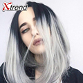 12inch cheap synthetic Kanekalon striaght hair short bob wigs synthetic black ombre gray natural hair wigs for black women