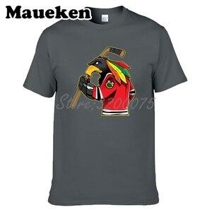 Image 5 - Camiseta de manga corta de algodón con cuello redondo para hombres de Chicago Blackhawks Fans 100% W19031511
