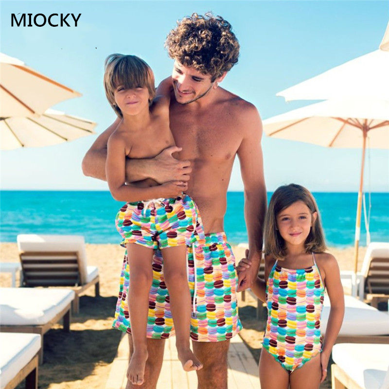 Family Swimwear One-piece swimsuit Mother and daughter beach Hamburger Dad son Swimming pants E054