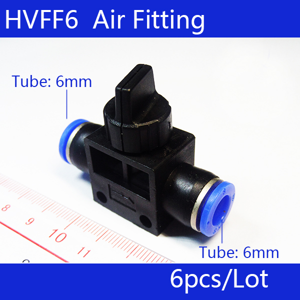 HVFF6  Pneumatic Flow Control Valve;Hose to Hose Connector;6mm Tube* 6mm Tube;6Pcs/Lot; Free Shipping;All size available 5pcs hvff 08 pneumatic valve control hvff 8mm tube pipe hose quick connector hand valves plastic pneumatic hose air fitting
