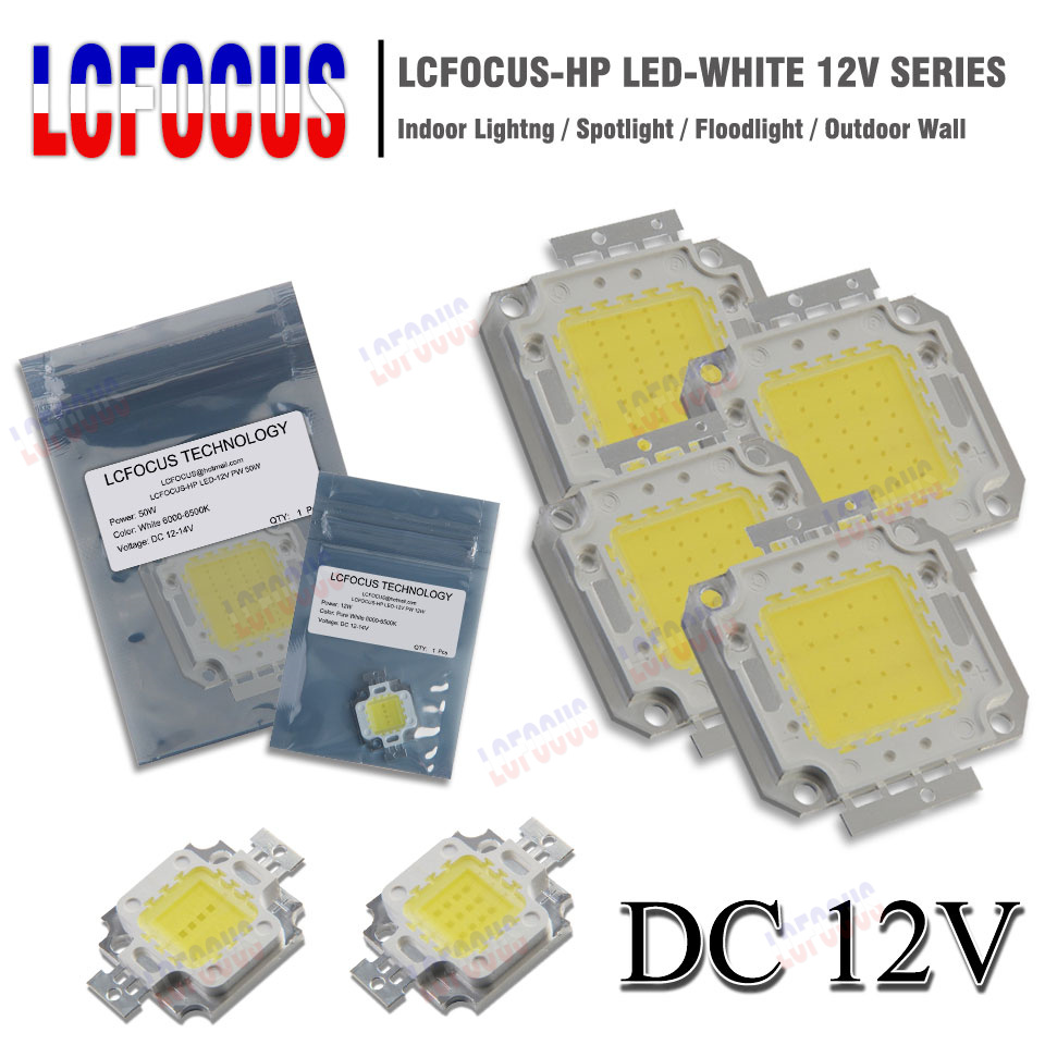10 pcs set of PCB with LEDs 7 W cold white, 840 lm, 50 mm