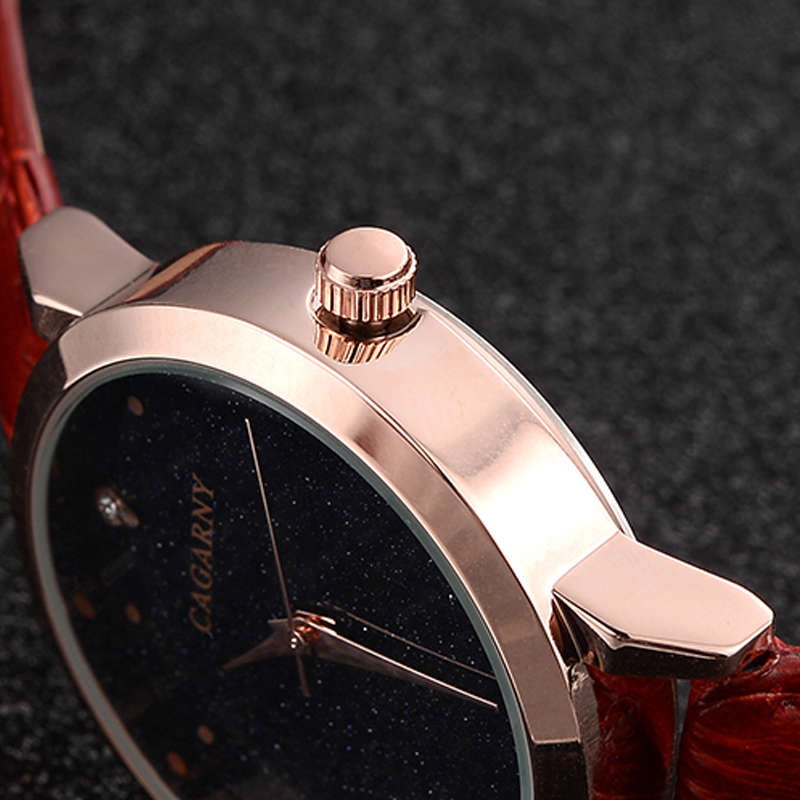 luxury brand cagarny quartz watch for women blue sky dials creative casual ladies watches rose gold case drop shipping (31)