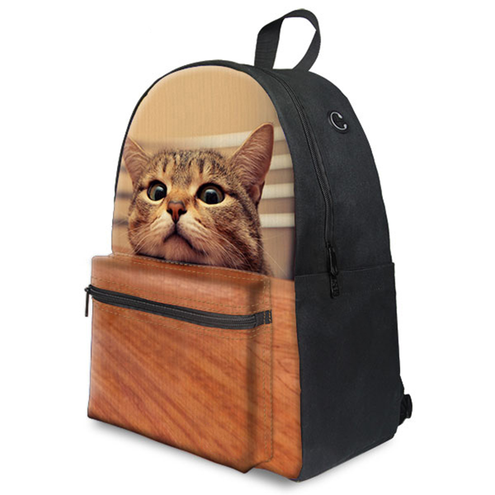 3D Cat Prints 15Inch Backpack Back To School Bag Canvas Backpack For Teenage Girls Daily And School Use