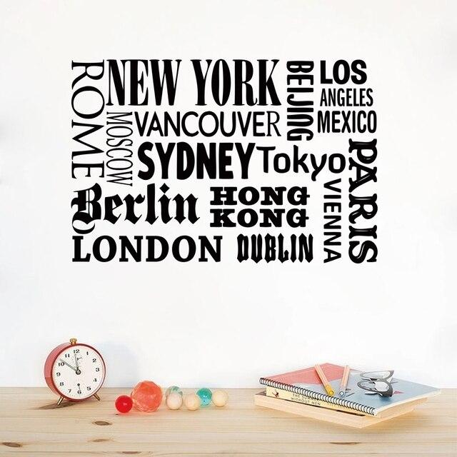 Aliexpress Com New York London Paris Quote Wall Sticker Stadt