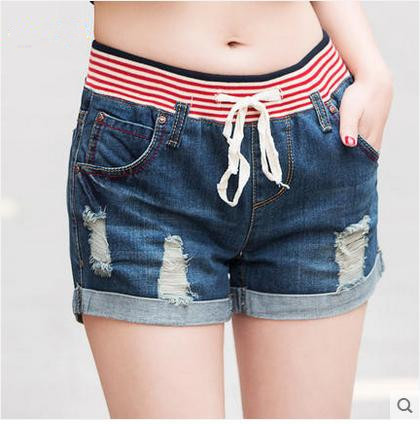 2017 summer fashion high waist denim shorts female loose beads hole big yards elastic waist casual shorts jeans women