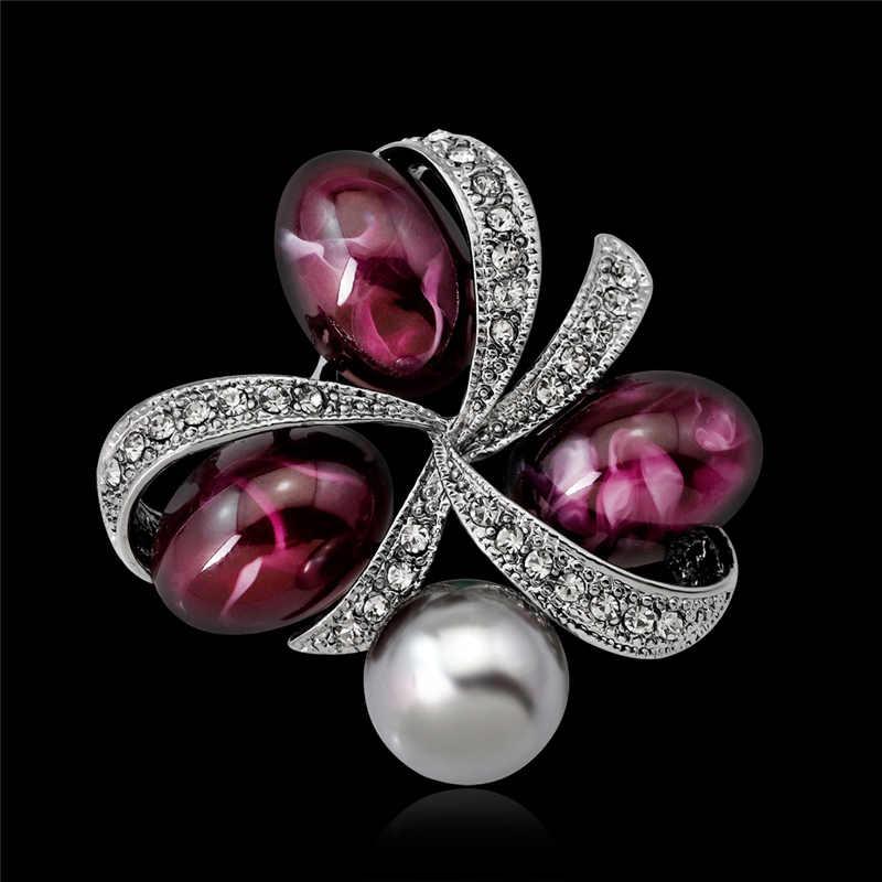 Vintage Pearl หินธรรมชาติสำหรับผู้หญิงคริสตัลเข็มกลัดเข็มกลัดหญิงเข็มกลัดสำหรับจัดงานแต่งงานเครื่องประดับ Dropshipping