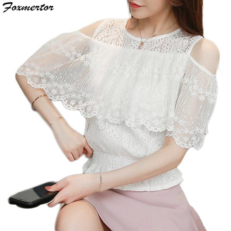 Gasa Ocasionales Foxmertor Blusas Hombro Camisa Manga Tapas Señoras Malla De Las Mujeres Encaje white Corta Pink TfPnT80q