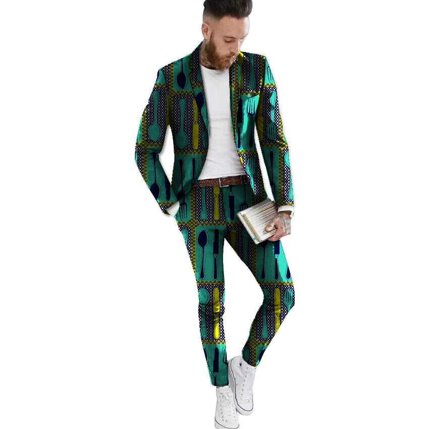 African Blazers And Trousers Set Men's Ankara Suit Jacket Fashion Wax Print Dashiki Blazer+pant Sets African Clothing