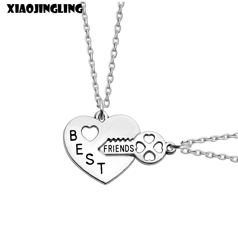 XIAOJINGLING New Design 2Pcs Key Heart Necklace Sweater Chain Necklaces & Pendants For Women Best Friend Birthday Party Gifts