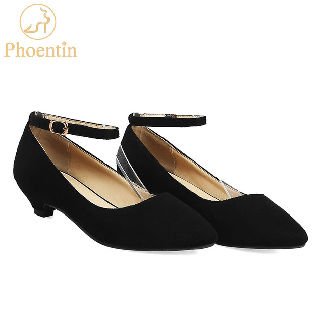 7f655663be01 Phoentin black women pumps ankle strap spring 2018 low-heeled shoes female  classic women retro