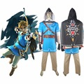 The Legend of Zelda Breath of the Wild Link Outfit Uniform With Cape Halloween Cosplay Costume Comic-con Men