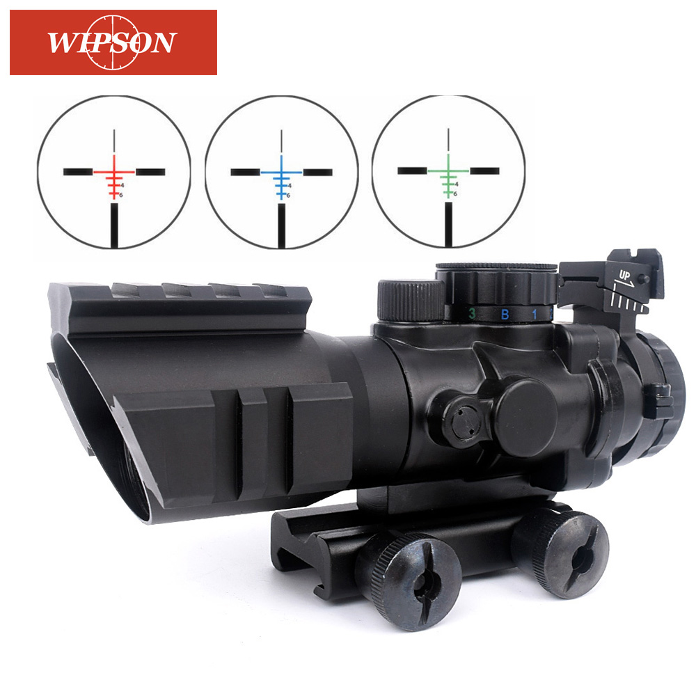 WIPSON 4x32 Acog Riflescope 20mm Dovetail Reflex Optics Scope Tactical Sight For Airgun Air Rifle Sniper Magnifier Air Soft